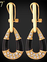 U7® Women's Clear Rhinestone Crystal Earrings Fashion Jewelry 18K Real Gold Plated Black Enamel Dangle Earrings