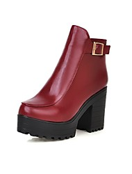 Calçados Femininos Courino Salto Grosso Arrendondado/Botas da Moda Botas Escritório & Trabalho/Social Preto/Vermelho