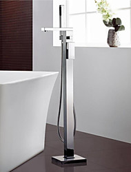 Contemporary Floor Mounted Floor Standing with  Ceramic Valve Single Handle One Hole for  Chrome , Bathtub Faucet