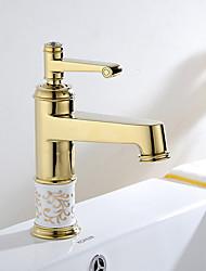 laiton Gloden transitoire chaude et froide poignée unique salle de bains bassin évier robinet mélangeur