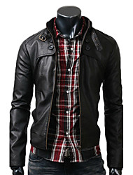 Men's Long Sleeve Jacket , Elastic/PU Casual/Work/Formal Plaids & Checks/Pure