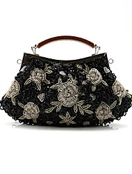 Handbag Silk/Faux Leather/Imitation Pearl Evening Handbags/Clutches/Mini-Bags With Flower/Imitation Pearl