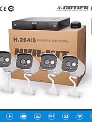 cotier®4ch 1U système NVR 720p / 960p / 1080p / plug and play / extérieur / balle caméra ip n4b7m / kit