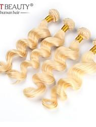 "3pcs / lot 12 ""-26"" natural virgen lejía suelta la onda del pelo ruso pelo rubio cabello humano remy"