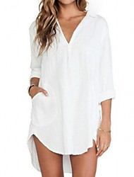 Women's V Neck Blouse , Cotton Long Sleeve