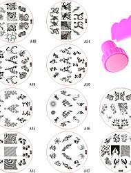 10pcs New Design Nail Art Stamping Plate + Stamper & Scraper
