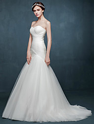 Fit & Flare Wedding Dress - Chic & Modern Sweep / Brush Train Sweetheart Tulle with Criss-Cross