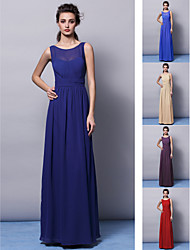 Floor-length Chiffon Bridesmaid Dress - Ruby/Grape/Royal Blue/Champagne/Regency Sheath/Column Jewel