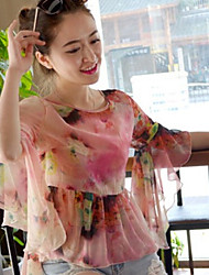 Women's Round Neck Blouse , Chiffon ¾ Sleeve