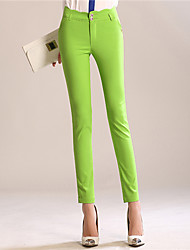 Women's Solid Red/Black/Green Skinny Pants , Casual/Work