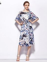 Elegant !Quality Round Neckline1/2 length Sleeve  Silk Dress Waist Straps Decoration Midi Length Dress