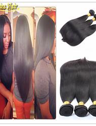 3pcs muito brasileiro do cabelo virgem reta 8-32inch cor natural 100% hari humano trama extensão do cabelo não processado / 100%