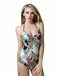 One Piece Foclassy Slim Fit Push-up Underwire Retro Vintage Halter Bathing Suit Swimsuit Swimming Suit Swimwear