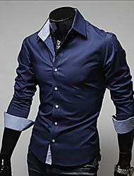 Masculino Camisa Social Casual Trabalho Tamanhos Grandes Simples Primavera Outono,Sólido Algodão Poliéster Colarinho Clássico Manga Longa