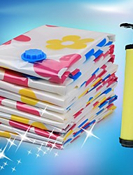 Flower Pattern Space Saver Vacuum Compressed Storage Bags Set w/ Air Pump (8 PCS)