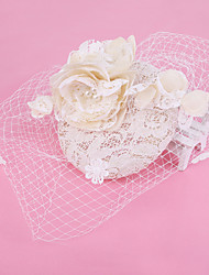 Women's Lace / Pearl / Net Headpiece-Wedding / Special Occasion Birdcage Veils 1 Piece White