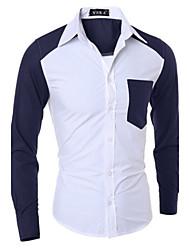 Chemises informelles ( Coton mélangé ) Informel Manches longues pour Homme