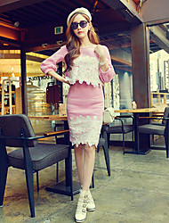 Mulheres Conjunto Casual Simples / Moda de Rua Outono,Patchwork Azul / Rosa Algodão / Elastano Decote Redondo Manga ¾ Média