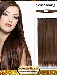 5 Clips Long Straight Honey Brown (#12) Synthetic Hair Clip In Hair Extensions For Ladies