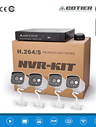 kits NVR 4 canales poe cotier® ONVIF / p2p / H.264 / 720p cámara ip n4b7 / kit-poe