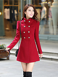 Women's Solid Red/Green Trench Coat , Casual/Cute Long Sleeve Others