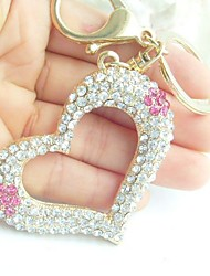 Honey Love Heart Key Chain With Clear & Pink Rhinestone Crystals