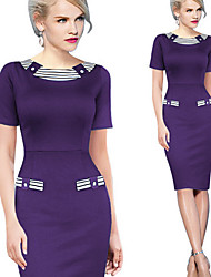 Aier Women's Color Block Blue / Green / Purple Dresses , Bodycon / Party Round Short Sleeve