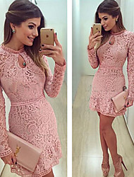 Muchen Women's Lace Multi-color Dresses , Sexy / Party Round Long Sleeve