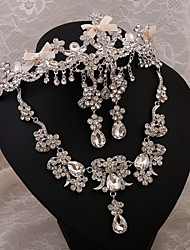 2015 Crown bride rhinestone necklace earrings bridal headdress three-pieceBY-SET0004