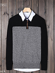 Men fall new cotton long sleeved sweater color male Korean slim type male head button sweater sweater