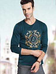 Men's Long Sleeve T-Shirt , Lycra/Organic Cotton Casual/Work/Formal/Sport/Plus Sizes Print/Pure