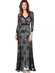 Women's Round Lace Dresses , Lace Sexy/Casual Long Sleeve JFS