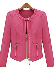 Women Fashion Zip PU Top