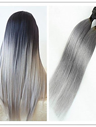 3Pcs/Lot Cheap Top Quality Ombre 1B/Grey Brazilian Virgin Straight Ombre Grey Hair Weft Weaves