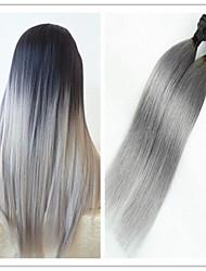 3pcs / lot billig hochwertige ombre 1b / grau brasilianische reine gerade ombre grauen Haareinschlagfaden webt