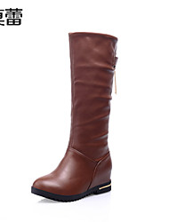 Women's Shoes Faux Leather Low Heel Fashion Boots Boots Office & Career/Casual Black/Brown/Beige
