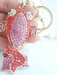 Purse Charming Goldfish Key Chain With Red & Pink Rhinestone Crystals