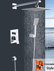 "Shengbaier Wall Mounted Double Handles Brass Shower Faucet with 8"" Square Shower Head and Hand Shower"