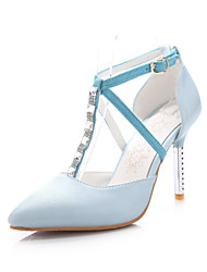 Women's Shoes PU Summer / Fall Heels / Pointed Toe Office & Career / Casual Stiletto Heel Sparkling Glitter / Buckle Blue / Pink / White