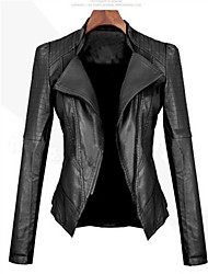 Women's Vintage/Casual Imitation leather Coat Slim Long Sleeve PU Jacket