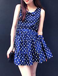 Women's Polka Dot Blue Dress , Casual Sleeveless