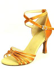 Customizable Women's Dance Shoes Latin/Salsa Satin Customized Heel Black/Blue/Yellow/Purple/Red