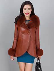 Women's Fashion Casual Fox Fur Spliced Genuine/Real Sheepskin Leather Jacket/Coat