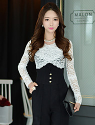 Women's Round Lace Tops & Blouses , Elastic/Lace/Nylon/Viscose Bodycon/Casual/Lace/Work Long Sleeve DABUWAWA