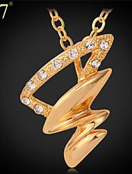 U7® Women's Tornado Shape Gold Necklace Fashion Jewelry Platinum/Gold Plated Rhinestone Cute Necklace Pendant