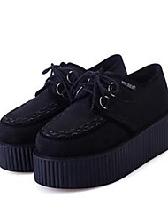 Women's Shoes Fabric/Flat Heel Creepers/Round Toe Fashion Sneakers Casual Black