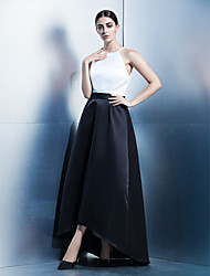 TS Couture Formal Evening Dress - Color Block A-line Jewel Asymmetrical Satin with Sash / Ribbon