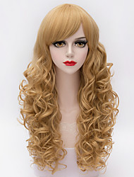 Elegant Mature Sexy Women Long Flaxen And Gold Spiral Curly Full Side Bang Synthetic Fashion Harajuku Wig