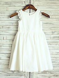 Princess Ivory Knee-length Flower Girl Dress - Cotton Sleeveless