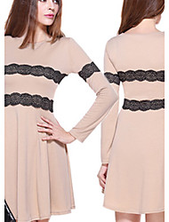 DUO.L Women's Lace Multi-color Dresses , Sexy / Casual / Work Round Long Sleeve